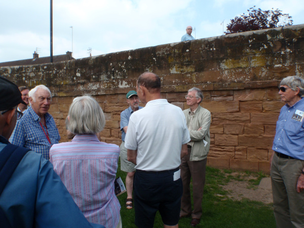 """Group viewing Townpool Bridge - guided walk of """"The Building Stones of Old Kenilworth"""""""